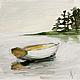 Пейзаж ручной работы. Ярмарка Мастеров - ручная работа. Купить Лодка. Handmade. Живопись, зима, осень, деревья, желтый, картина