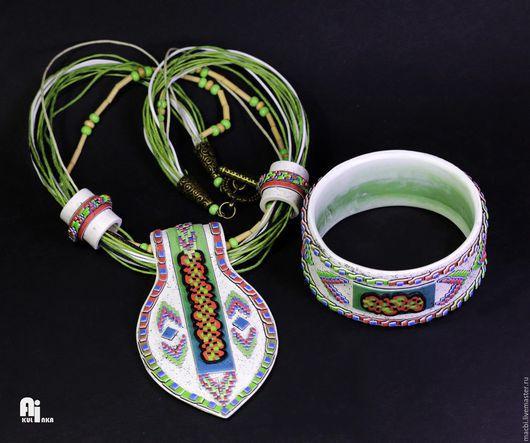 Комплекты украшений ручной работы. Ярмарка Мастеров - ручная работа. Купить Комплект в этническом стиле. Handmade. Зеленый, Этнический стиль
