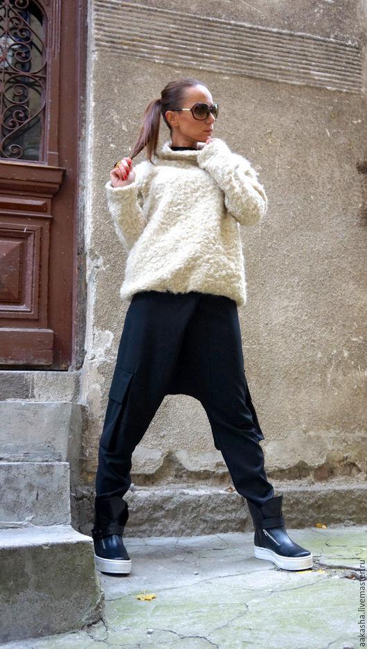букле стильная кофта теплая кофта из шерсти шерстяная кофта теплый джемпер дизайнерская одежда стильная одежда цвет айвори