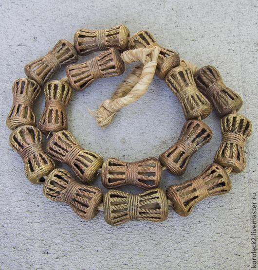 Для украшений ручной работы. Ярмарка Мастеров - ручная работа. Купить Крупные ажурные латунные бусины -косточки с косичками, Африка. Handmade.