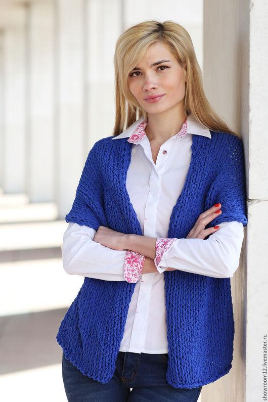 Кофты и свитера ручной работы. Ярмарка Мастеров - ручная работа. Купить Кардиган из хлопка синий. Handmade. Синий, хлопковый трикотаж