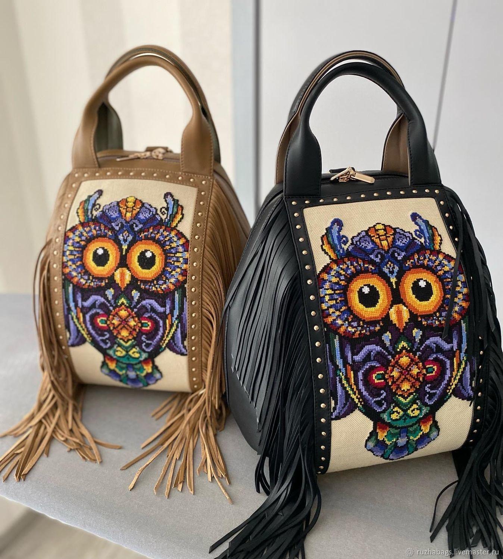 Коллекция «Совы» кожаная сумка-рюкзак с бахромой, Классическая сумка, Львов,  Фото №1