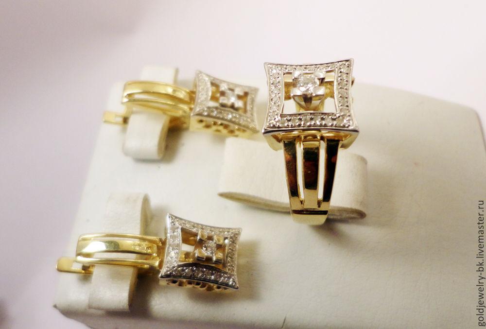 Комплект Золотое бриллиантовое кольцо серьги 585 пробы, Комплекты украшений, Ереван, Фото №1