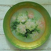 Тарелки ручной работы. Ярмарка Мастеров - ручная работа Декоративная тарелка Белые розы. Handmade.