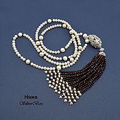 Украшения handmade. Livemaster - original item Necklace GARNET TASSEL Garnet Pearls white author`s work. Handmade.