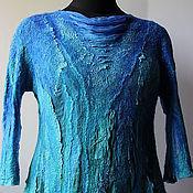 Одежда ручной работы. Ярмарка Мастеров - ручная работа Валяная блузка Голубая бирюза. Handmade.