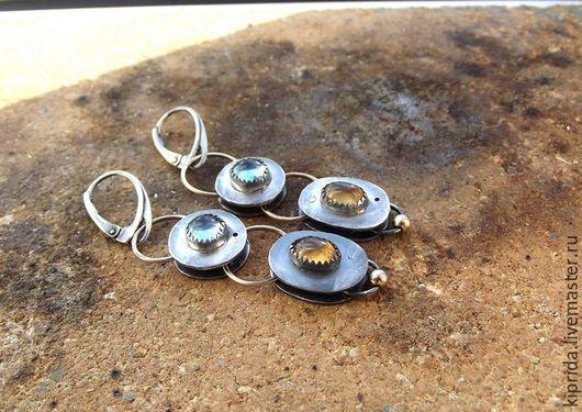 Серьги ручной работы. Ярмарка Мастеров - ручная работа. Купить Серьги Angel Tears-2 (серебро, топаз, спессартин, голдфилд). Handmade.