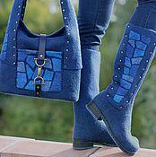 """Обувь ручной работы. Ярмарка Мастеров - ручная работа Валяные сапожки и сумка """"Синие витражи"""". Handmade."""