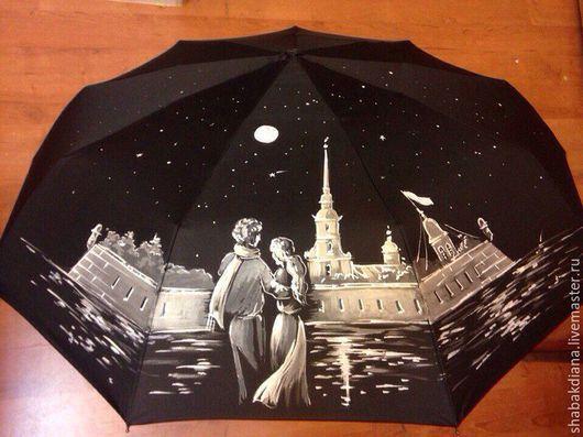 Зонты ручной работы. Ярмарка Мастеров - ручная работа. Купить Зонт с росписью -    Двое в Питере. Handmade. Черный, ночной город