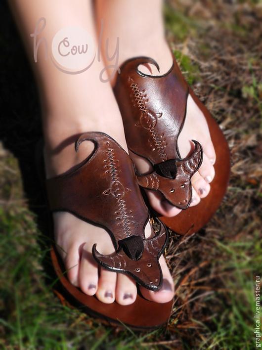 """Обувь ручной работы. Ярмарка Мастеров - ручная работа. Купить Кожаные сандалии """"HOLY COW"""". Handmade. Коричневый, обувь для улицы"""