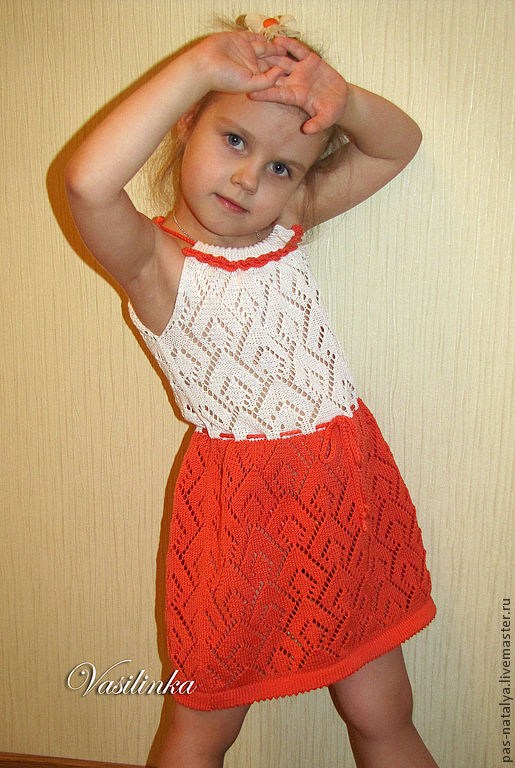 """Одежда для девочек, ручной работы. Ярмарка Мастеров - ручная работа. Купить Вязаный сарафан для девочки """"Ажурчик"""". Handmade. Однотонный"""