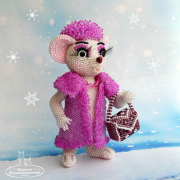 Dolls & toys handmade. Livemaster - original item Miss Bianca`s bead mouse,bead Toy,White mouse,Collectible toy. Handmade.