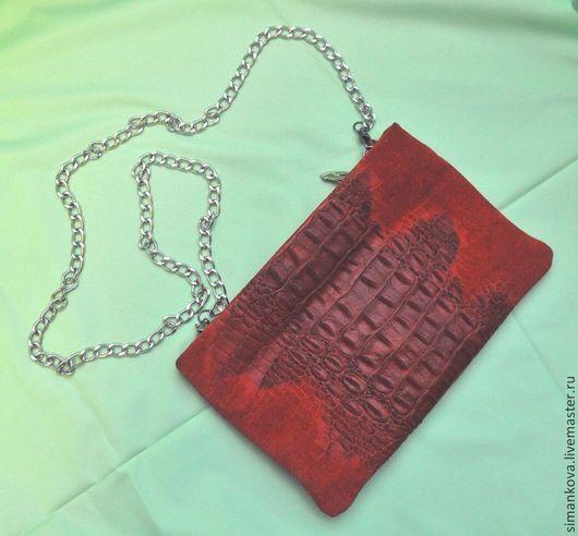 Женские сумки ручной работы. Ярмарка Мастеров - ручная работа. Купить Клатч под крокодила красный - 1. Handmade. клатч
