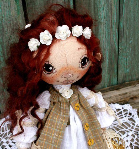 Куклы тыквоголовки ручной работы. Ярмарка Мастеров - ручная работа. Купить Рыжеволосая куколка.. Handmade. Рыжий, тыквоголовка