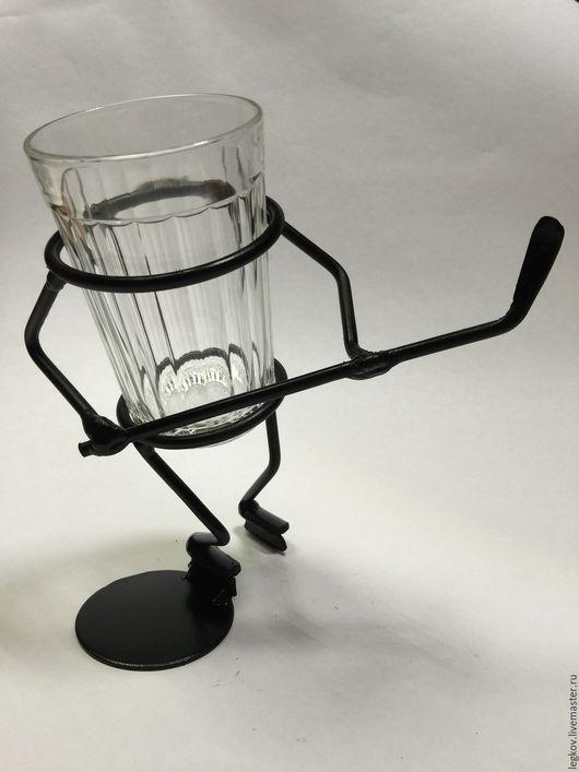 """Бокалы, стаканы ручной работы. Ярмарка Мастеров - ручная работа. Купить Подставка под стакан """"Хоккеист"""". Handmade. Черный, в подарок"""