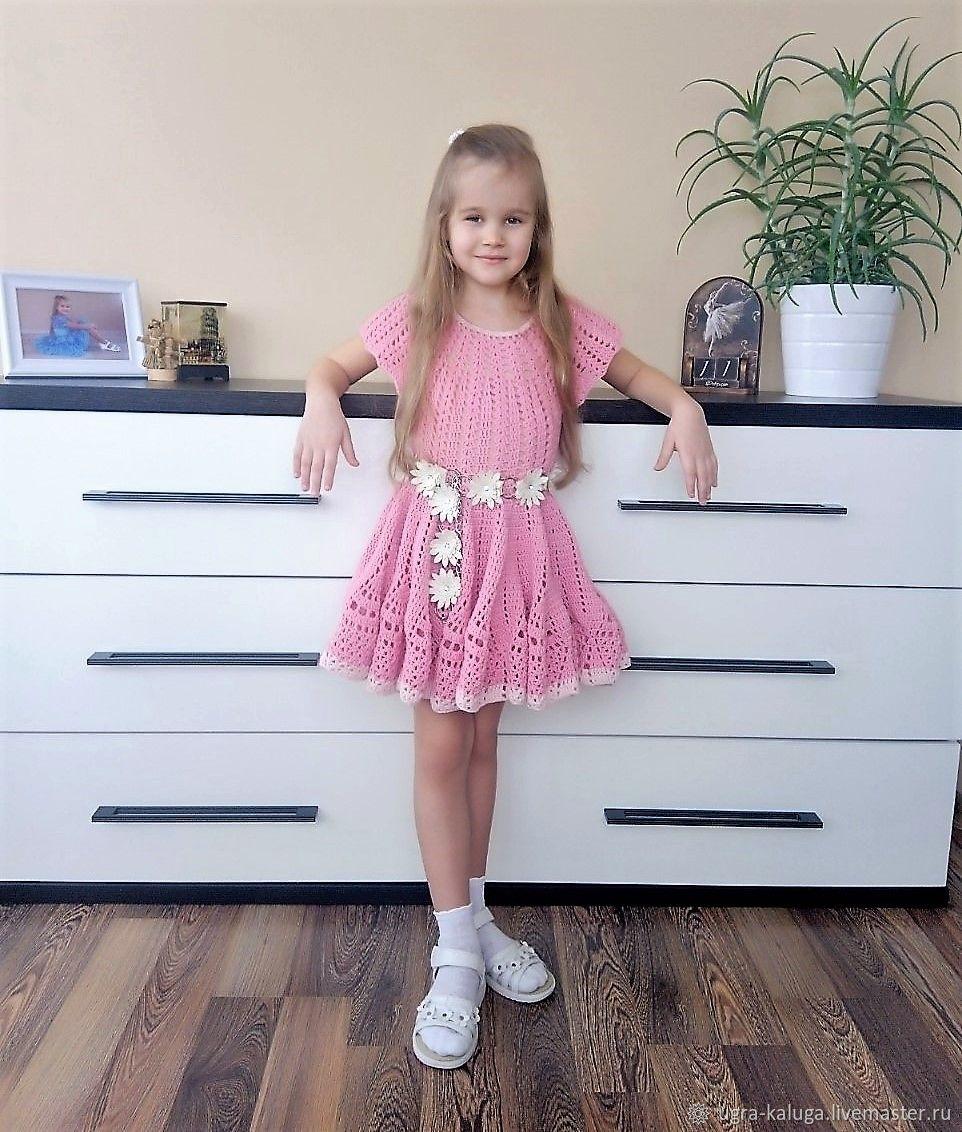 """Платье  для девочки с поясом """"Цветок клевера"""""""