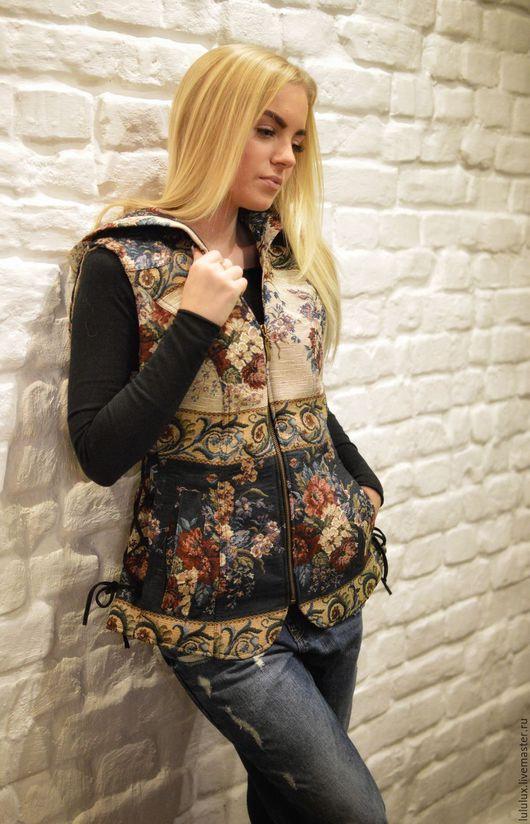Верхняя одежда ручной работы. Ярмарка Мастеров - ручная работа. Купить Женская жилетка из дизайнерской ткани. Handmade. Комбинированный