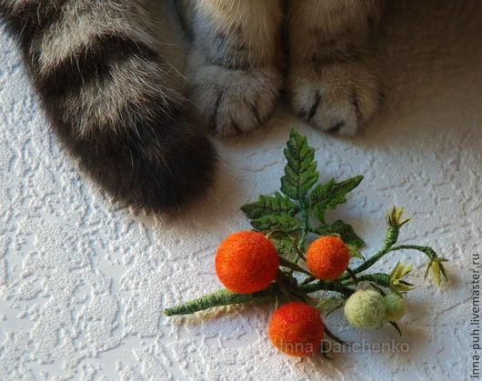 Валяная брошь цветок, помидоры черри, Данченко Инна, Брошки и Игрушки