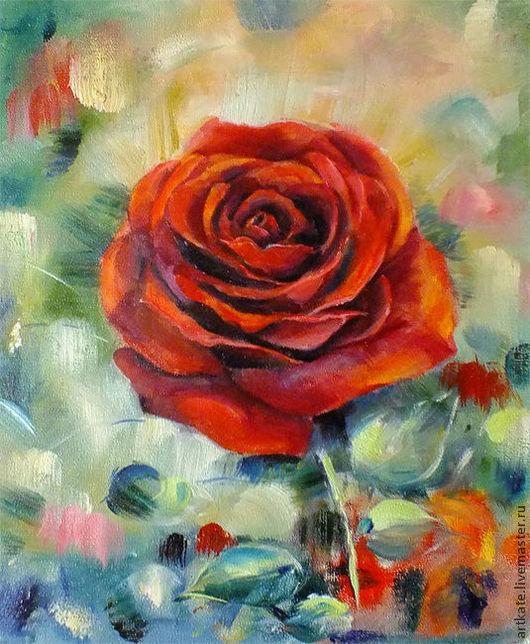 """Картины цветов ручной работы. Ярмарка Мастеров - ручная работа. Купить Картина маслом """"Красная роза"""". Handmade. Роза"""