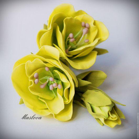 Заколки ручной работы. Ярмарка Мастеров - ручная работа. Купить Заколка цветок эустома из фоамирана. Handmade. Эустома, ветка цветов