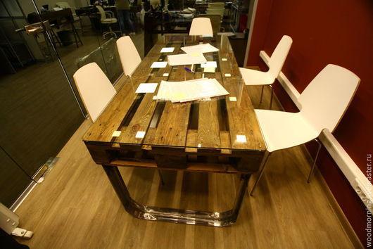 Обеденный стол из паллет для столовой / офисный стол из паллет ( из поддонов) для переговорной из паллет