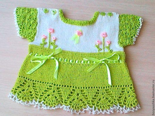 """Одежда для девочек, ручной работы. Ярмарка Мастеров - ручная работа. Купить комплект """"лето"""". Handmade. Ярко-зелёный, комплект для девочки"""