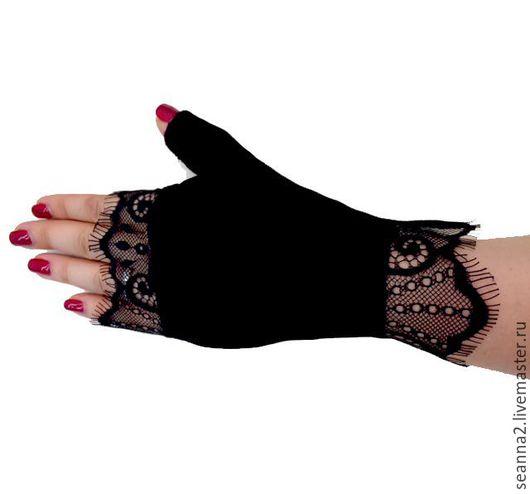 """Варежки, митенки, перчатки ручной работы. Ярмарка Мастеров - ручная работа. Купить Перчатки без пальцев, митенки из бархата и кружева шантильи """"Бархатные. Handmade."""