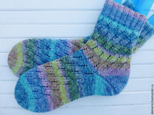 Носки, Чулки ручной работы. Ярмарка Мастеров - ручная работа. Купить Вязаные женские носки Акварель. Handmade. В полоску