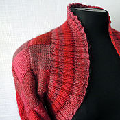 Одежда ручной работы. Ярмарка Мастеров - ручная работа Шраг болеро Красный вязаный энтерлак. Handmade.