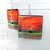 Украшения handmade. Livemaster - original item Transparent Square Earrings In Sunset Orange. Handmade.