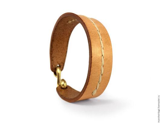 Браслеты ручной работы. Ярмарка Мастеров - ручная работа. Купить Кожаный браслет S-Hook - натуральный со швом. Handmade.