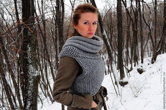Шарфы и шарфики ручной работы. Ярмарка Мастеров - ручная работа. Купить Шарф Голодные игры Katniss Cowl. Handmade. Серый