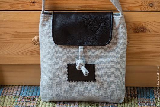 Женские сумки ручной работы. Ярмарка Мастеров - ручная работа. Купить Голубая твидовая сумка с кожаными вставками. Handmade. Голубой