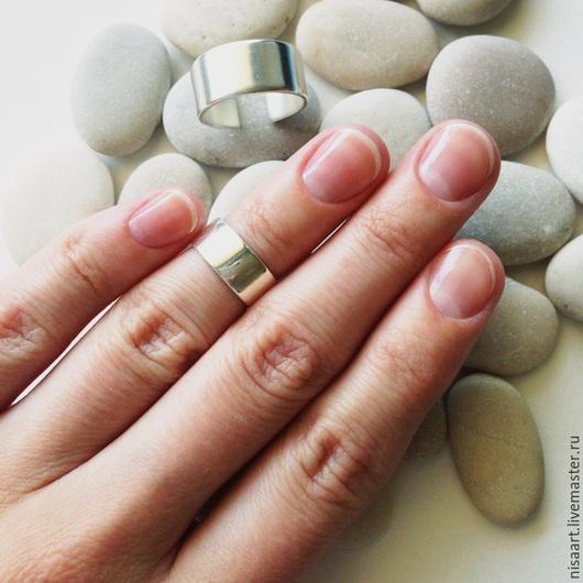 Кольца ручной работы. Ярмарка Мастеров - ручная работа. Купить Широкое серебряное кольцо на фалангу или мизинец.. Handmade. Серебряный