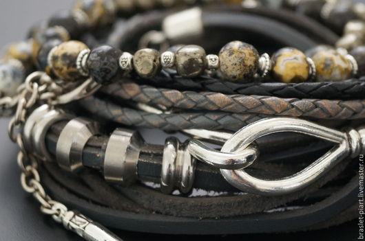 """Украшения для мужчин, ручной работы. Ярмарка Мастеров - ручная работа. Купить Комплект браслетов """" ВинтаЖ-12,0"""" из кожи и океан. яшмы.. Handmade."""