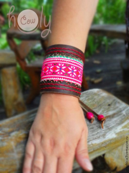 """Браслеты ручной работы. Ярмарка Мастеров - ручная работа. Купить Коричневый кожаный браслет """"Hmong in Brown"""". Handmade."""