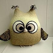 Подушки ручной работы. Ярмарка Мастеров - ручная работа Сова-подушка бежевая большая. Handmade.
