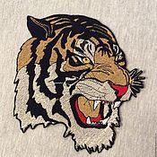Аппликации ручной работы. Ярмарка Мастеров - ручная работа Нашивка вышитая Тигр. Handmade.