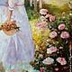 """Люди, ручной работы. Заказать Картина маслом  """" Nostalgia"""". Olya (dreamland-oz). Ярмарка Мастеров. Лето, цветы, море"""