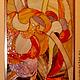 Элементы интерьера ручной работы. Ярмарка Мастеров - ручная работа. Купить витраж в нишу-пламя.. Handmade. Рыжий, витражная картина