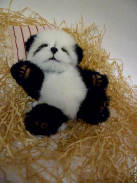 Мишки Тедди ручной работы. Ярмарка Мастеров - ручная работа. Купить Панда,13 см.. Handmade. Чёрно-белый