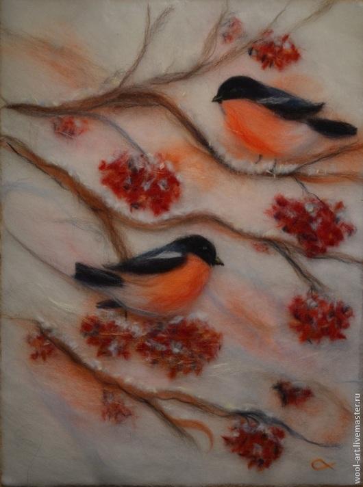 """Пейзаж ручной работы. Ярмарка Мастеров - ручная работа. Купить Картина из шерсти """"Снегири"""". Handmade. Ярко-красный, картина из шерсти"""