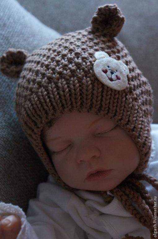 """Для новорожденных, ручной работы. Ярмарка Мастеров - ручная работа. Купить Шапочка для новорожденных """" Мишка"""". Handmade. Коричневый"""
