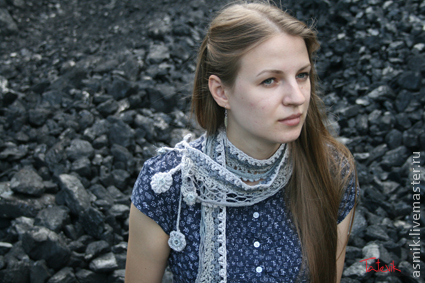 Scarf knitted'Silver dust'boho chic, Scarves, Moscow,  Фото №1