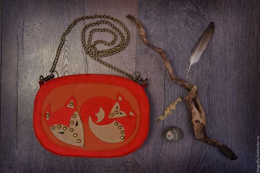 Женские сумки ручной работы. Ярмарка Мастеров - ручная работа. Купить Сумка  из алькантары FOX. Handmade. Комбинированный, лиса