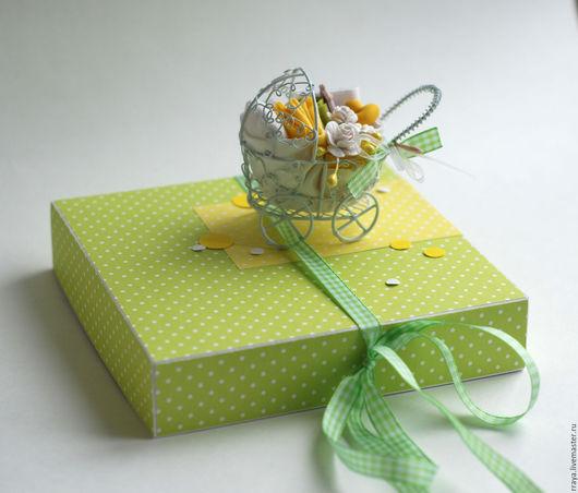 """Детские открытки ручной работы. Ярмарка Мастеров - ручная работа. Купить Коробочка с открыткой на рождение ребенка """"Коляска"""". Handmade."""