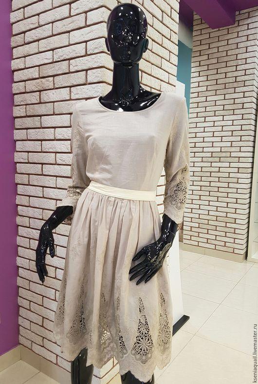 Платья ручной работы. Ярмарка Мастеров - ручная работа. Купить Платье с вышивкой Ришелье. Handmade. Бежевый, вышивка на платье
