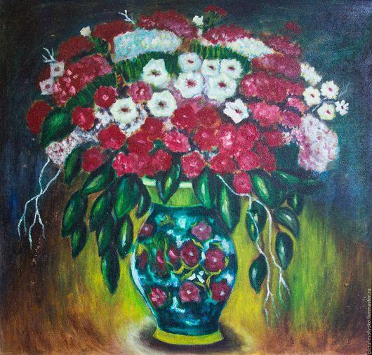 Картины цветов ручной работы. Ярмарка Мастеров - ручная работа. Купить Любимые цветы.. Handmade. Бордовый, букет, маме, бабушке