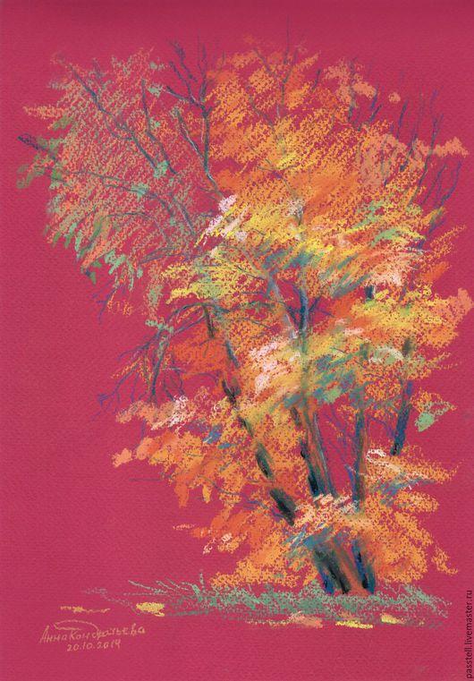 Пейзаж ручной работы. Ярмарка Мастеров - ручная работа. Купить Картина пастелью Осеннее дерево. Handmade. Картина, картина пастелью
