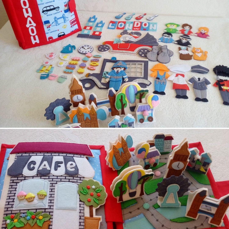 Развивающие игрушки ручной работы. Ярмарка Мастеров - ручная работа. Купить Развивающая книга из фетра 'Лондон'. Handmade. Полезный подарок